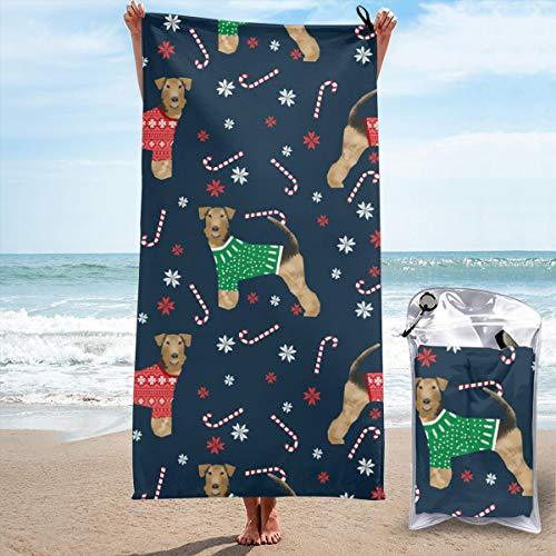 N/A Microvezel strandhanddoek extra groot -160 cm x 80 cm sneldrogend XL lichtgewicht handdoek met eenvoudige ritszak - perfect voor strand, reizen, yoga, sport, sportschool, zwemmen & kamperen, Airedale Xmas trui