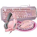 DGG Combo de auriculares de ratón de juego 4 en 1 rosa, con retroiluminación LED blanco 104 teclas ergonómico teclado gamer+4800 dpi ajustar el ratón óptico del juego+3.5mm Gaming Stereo Headset