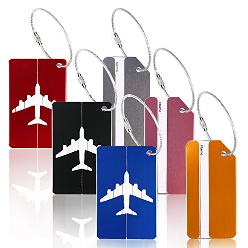 6er Metall Kofferanhänger,ZOOMSKY Aluminium Taschenanhänger Koffer Gepäck Etiketten mit Namenschild Adresseschild Luggage Tag für Reisen Geschäft - Streifen und Flugzeug Muster