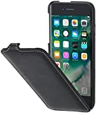 StilGut Leder-Hülle kompatibel mit iPhone SE 2020/iPhone 8/iPhone 7 vertikales Flip-Hülle, Schwarz Nappa