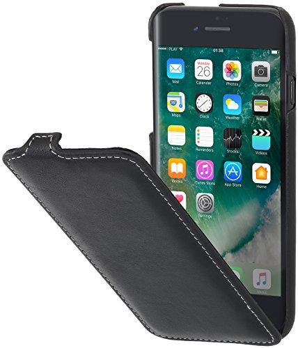 StilGut Custodia Compatibile con iPhone 7, iPhone 8, iPhone SE 2020 Cover flipcase Verticale in Pelle con Chiusura a Clip, Nero Nappa