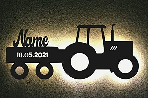 LED Deko Schlummerlicht Nachtlicht Name Traktor Traki der Traktor Anhänger mit Wunsch Datum, personalisiert mit Wunsch Namen Lasergravur Abendlicht Kinderzimmer Wohnzimmer...