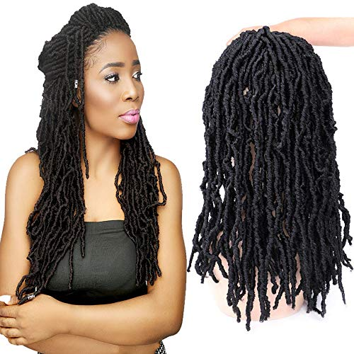 FASHION BINGO Locs Crochet Hair 6 Bundles Faux Locs Crochet Hair Synthetic Natural Wavy 14 Inch Goddess Locs Crochet Dreadlock Extensions Hair Twist Braids(1B 14')