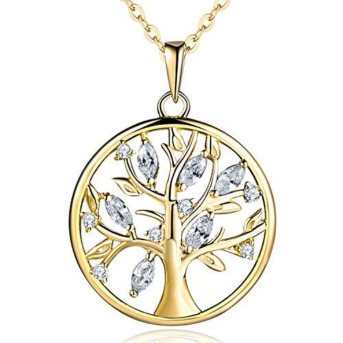 JO WISDOM Halskette Lebensbaum,kette anhänger silber 925 baum des lebens Yggdrasil Apirl Geburtsstein,Damen Schmuck (vergoldet,Zirkonia)