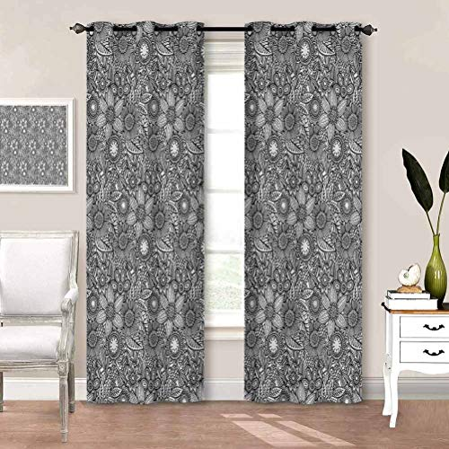 painting-home Printed Curtains Floral, Monochrome Spring Flowers Room Darkening Window Drapes Keep The Room Cooler and Cut Down On Dust W72 x L72 Inch
