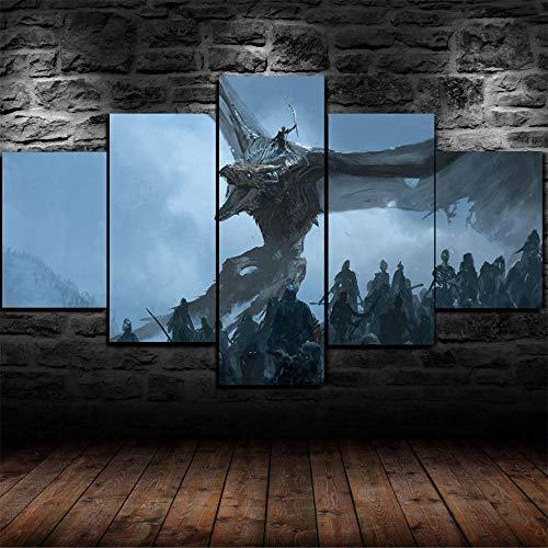 QZWXEC Game of Thrones White Walkers Dragon/Cuadro En Lienzo, Imagen Impresión, Pintura Decoración, Canvas De 5 Pieza, 150X80 Cm,Mural Moderno Decor Hogareña,Pintura Modular