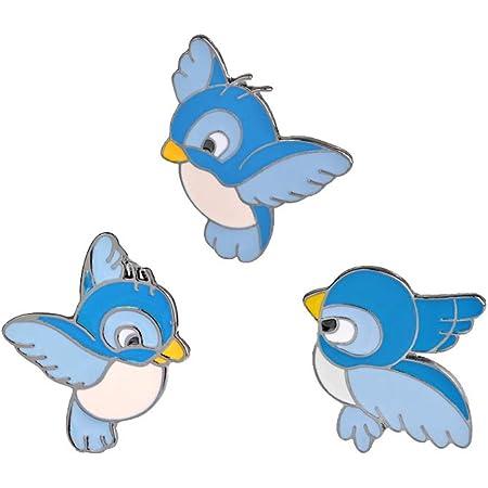 Nicetruc 3pcs / Set Carino Blue Bird Pin Cartoon battenti Fledgling Animal Spilla Giacca di Jeans Pin Fibbia Camicia Badge Regalo per i Bambini