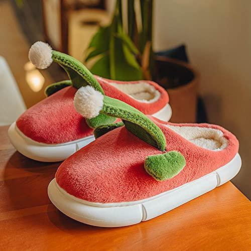 Zapatillas De Casa para Mujer Primavera,Zapatillas De AlgodóN para NiñOs De OtoñO E Invierno, Hombres Y Mujeres De Fondo Grueso De Fondo Suave Suave LeóN Pareja Anti-Diapositiva Hogar Defertia Transp