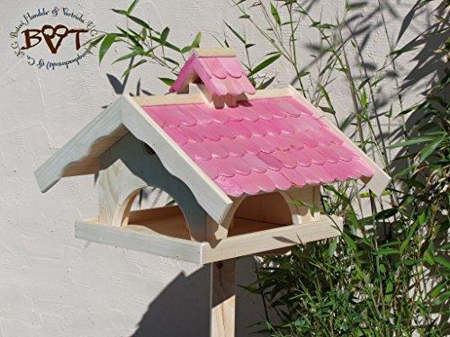 Vogelhaus,groß,mit Nistkasten,BEL-X-VONI5-pink002 Großes wetterfestes PREMIUM Vogelhaus VOGELFUTTERHAUS + Nistkasten 100% KOMBI MIT NISTHILFE für Vögel WETTERFEST, QUALITÄTS-SCHREINERARBEIT-aus 100% Vollholz, Holz Futterhaus für Vögel, MIT FUTTERSCHACHT Futtervorrat, Vogelfutter-Station Farbe pink rosa rosarot süß, MIT TIEFEM WETTERSCHUTZ-DACH für trockenes Futter