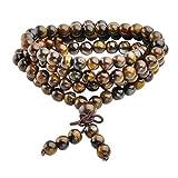 Jovivi 6mm 108 Perles Oeil de Tigre Mala Pierre Naturels Collier OU Bracelet...