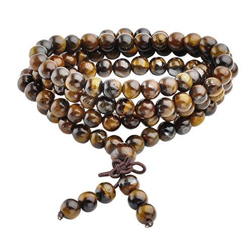 Jovivi Collana o bracciale a più giri con perle naturali di occhio di tigre, 6 mm, stile tibetano, buddista, Buddha Mala cinese, elastico, unisex