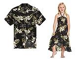 Camisa Hawaiana Luau con Traje a Juego para Hombres Vestido Chica con Verde Palm en Negro...