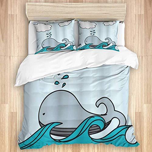 Funda de edredón, ballena bebé flotante náutica sobre las olas del mar salpicaduras de vida silvestre imagen infantil de dibujos animados, juego de ropa de cama con 1 funda y 2 fundas de almoh