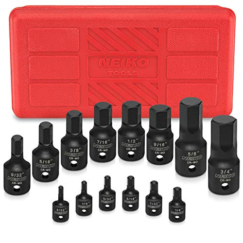 NEIKO 01142B Impact Grade Allen Bit Socket Set, SAE Hex Driver, 3/32 to 3/4 | 14-Piece Set, 1/4, 3/8 and 1/2-Inch Drive, Cr-Mo, One-Piece Construction