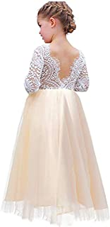 Flower Girls Lace V Back Straight Tutu Tulle Maxi Dress Party Girls Pageant Dresses Long Sleeve with Pearl Headband