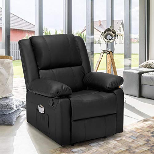 Esright 3 Seat Sofa Living Room Chair, Recliner Chair with Massage Heated Function, Modern PU...