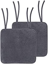 """homing Chair Cushion with Ties - Non Slip Memory Foam Dining Seat Pads with Moroccan Pattern Covers, Easy to Care, 16"""" x 16"""", 2 Pack, Grey"""
