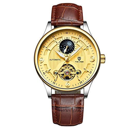 JTTM Reloj Mecánico De Cuero Automático con Fase Lunar Hueca Tourbillon Reloj Casual Impermeable para Hombres,Oro