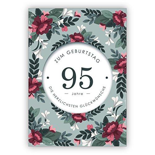 In 5-delige set: Mooie, stijlvolle verjaardagskaart met decoratieve bloemen voor de 95. Verjaardag: 95 jaar voor de verjaardag de meest hartelijke felicitaties