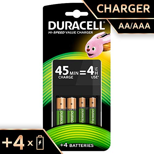Duracell Chargeur Piles Rechargeables 45 minutes - CEF14 4HR 2AA+2AAA - Pack de 1