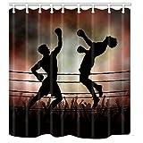 KOTOM Creativity Duschvorhang, Sport-Stil, Boxring-Design, Cool Dekor, Polyester-Stoff, Anti-Schimmel, Badvorhang, für Badezimmer, 177,3 x 177,8 cm, Badezubehör, 12 Haken im Lieferumfang enthalten