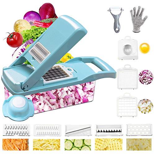 Chopper de cebolla Swongar Pro múltiples verduras picador de queso rallador duradero cortador de frutas verduras cortador Dicer Ricer con 8 cuchillas para ensalada patata zanahoria ajo