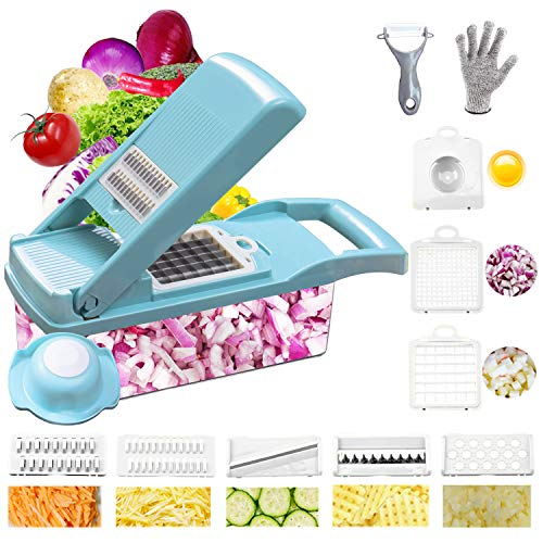 Onion Chopper Swongar Pro Multiple Vegetable Chopper Cheese Grater Durable Fruit Chopper Vegetable Slicer Cutter Dicer Ricer with 8 Blades for Salad Potato Carrot Garlic blue