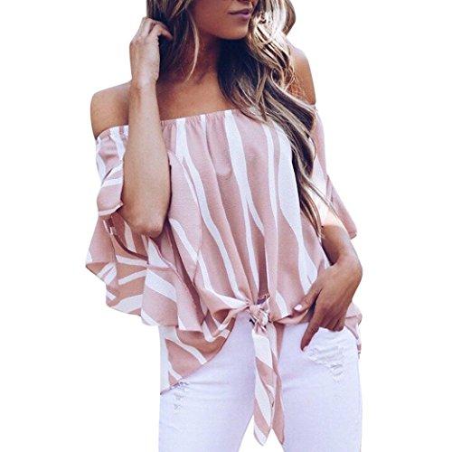 OverDose Damen Sommer Herbst Frauen Gestreift Schulterfrei Taille Krawatte Bluse Kurzarm Casual T Shirts Tops Freizeit Oberteile Bluse (A-rosa,38 DE/M CN)