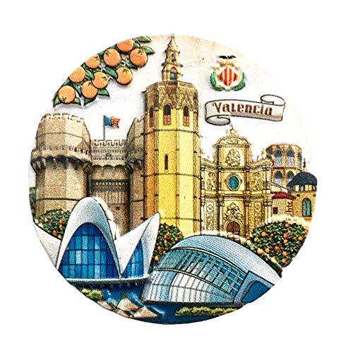 Imán 3D para nevera de Valencia España para decoración del hogar y la cocina, de poliresina