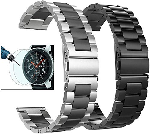 Valkit Compatible Galaxy Watch 46mm/Galaxy Watch 3 45mm Bands, 2 Pack 22mm Stainless Steel Solid Metal Wrist Band Business Strap + Screen Protector for Gear S3 Frontier/Classic, Sliver/Black+Black