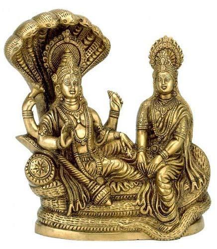 VintFlea Latón Astadhatu (8 metales) hecho Shri Lakshmi Narayan ídolo