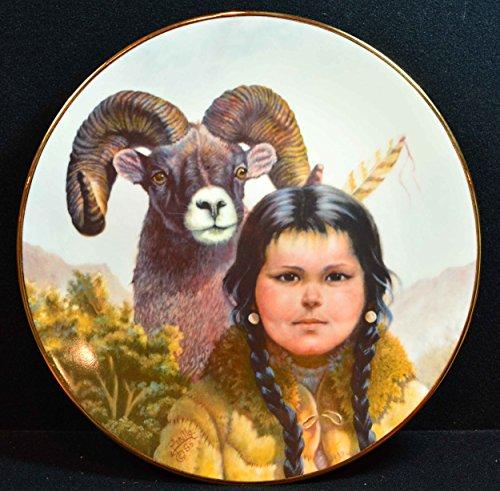 """Gregory Perillo Collectors Plate - Pride of Native America's Indian Arapaho Girl & Ram Plate """"NOBLE COMPANIONS"""" c1986 COA NIB"""