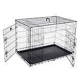 Pet Trex 2193 42'' Folding Pet Crate Double Door Kennel...