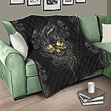 Flowerhome Totenkopf Steppdecke Tagesdecke Bettdecke Bettüberwurf Sofadecke Couchdecke Schlafdecke Wendedecke für Erwachsene Kinder White 150x200cm