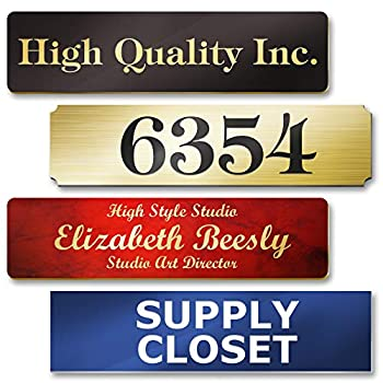 """Customized and Personalized Name Plates for Doors Wall Office Door and Mailbox Laser Engraved 18 Color Options 2  x 8"""" Classic Collection by My Sign Center"""