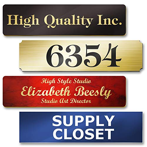 Customized and Personalized Name Plates for Doors, Wall, Office Door and Mailbox, Laser Engraved, 18 Color Options, 2