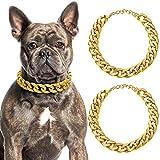 2 Catene a Maglie per Cani Collana in Oro a Catena per Cani Catena a Collare Oro per Cani in Plastica ABS Costume di Cuccioli per Cani (14 Pollici (35 + 7 cm))