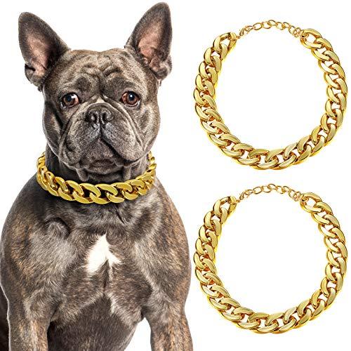 2 Stücke Hunde Link Kette Gold Halskette Kette für Hunde ABS Kunststoff Hunde Gold Halsband Kette Welpen Kostüm für Hunde (14 Zoll (35+7 cm))