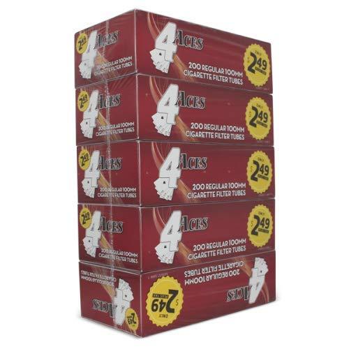 4 Aces Regular 100mm (100s) RYO Cigarette Tubes 200ct Box (5 Boxes)