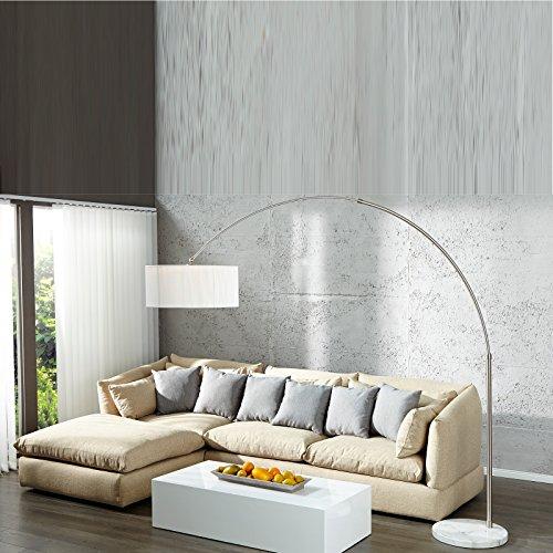 Design Bogen Stehlampe New York| Bogenlampe mit Nylonschirm in weiß, Stehleuchte, Bodenleuchte