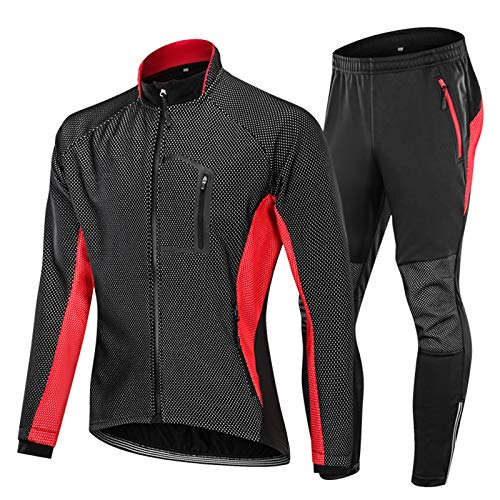 Sinctual Cycling Jersey Set Long Sleeve, Winter Windproof Thermal Warmcycling Clothing, Men Women Jacket Suit for Outdoor Mountain Bike,Red,L