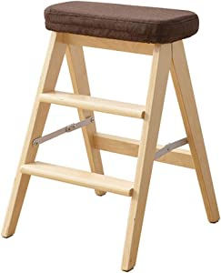 LJL Step Stool for Adults Wood Step Ladder Multifunction Folding Kitchen Steps Library Office