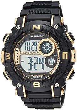 Armitron Sport Men's Digital Chronograph Resin Strap Watch (Black/Gold)