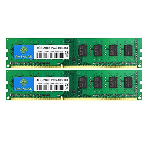 Rasalas 8GB Kit (2x4GB) PC3-10600 DDR3-1333 PC3 10600U Arbeitsspeicher DDR3 2Rx8 PC3-10600U 1333 MHz DDR3 1.5V CL9 240-pin Speicher Module für Desktop