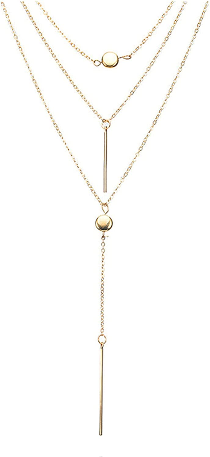 8888 ksowam Gold Layered Necklace for Women Dainty Bar Pendant Necklace Long Y-Necklace Fashion Tiny Chain Jewelry for Women and Girls