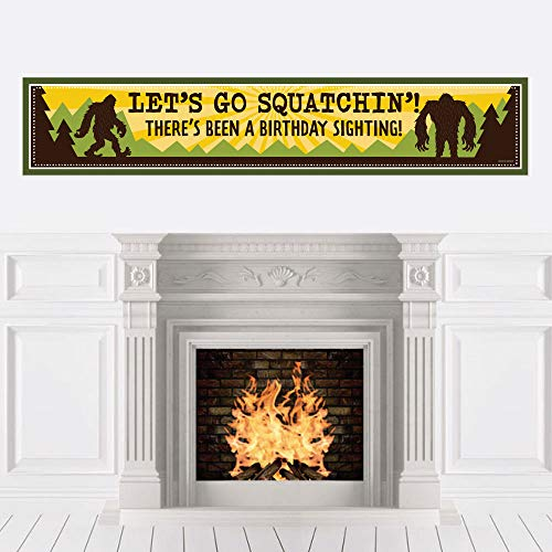 Big Dot of Happiness Sasquatch Crossing - Bigfoot Happy Birthday Decorations Party Banner
