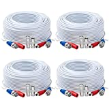 Tainston 4 Pack 150 Feet BNC Video Power Cable,BNC Extension Wire Pre-Made All-in-One Video Security Camera Wire with Connectors for CCTV Camera DVR Surveillance System