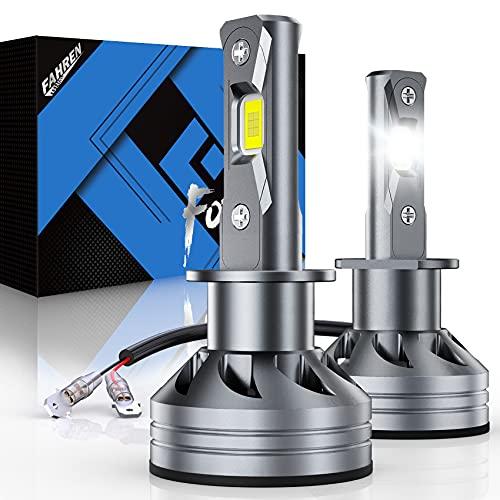 Fahren H1 LED Headlight Bulb, 60W 10000 Lumens Super Bright LED Headlights Conversion Kit 6500K Cool White IP68 Waterproof, Pack of 2