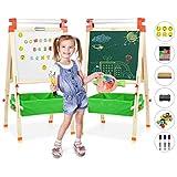 Joyooss Easel for Kids with Paper Roll, Double-Sided Magnetic Chalkboard & Whiteboard 3