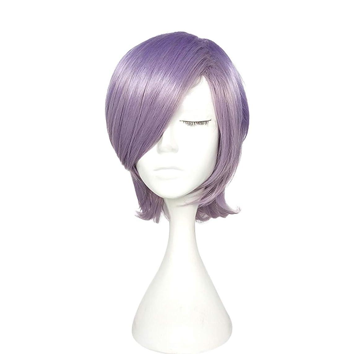 世界的にモニター示すKoloeplf 高温シルクショートカーリーヘアマイクロロールペアーヘッドウィッグヘッドギアパープルかつら (Color : Purple)